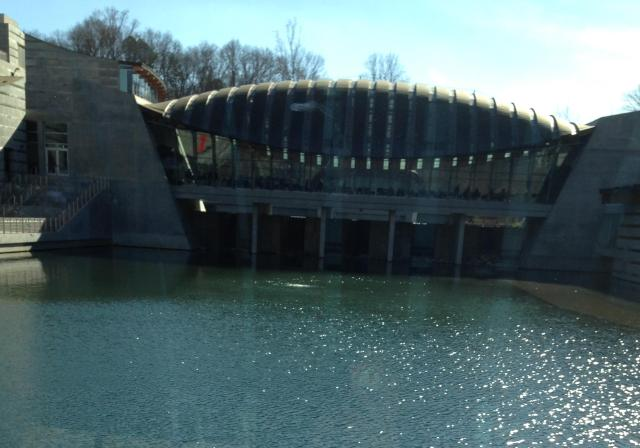 Crystal Bridges Museum 1 view from inside to the river