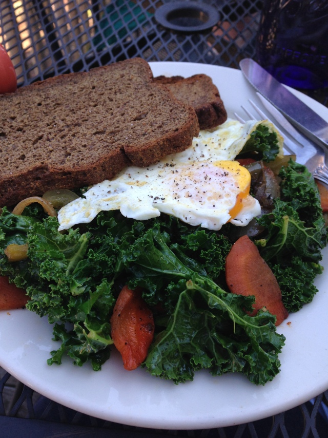 The Farmer's Table. Eggs Veg  Gluten free bread.