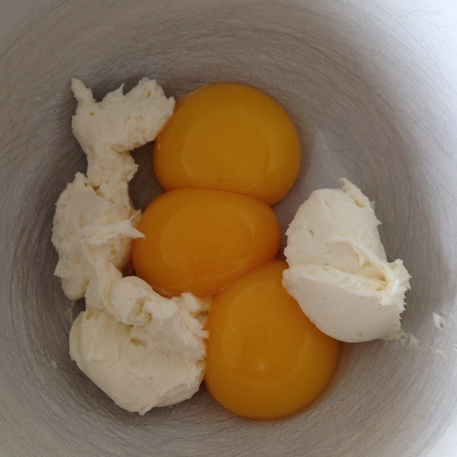 Yolks and cream cheese