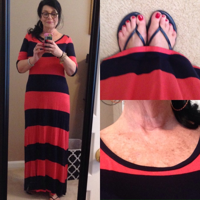 Gap Rugby striped 3.4 sleeve maxi with boatneck and shoes