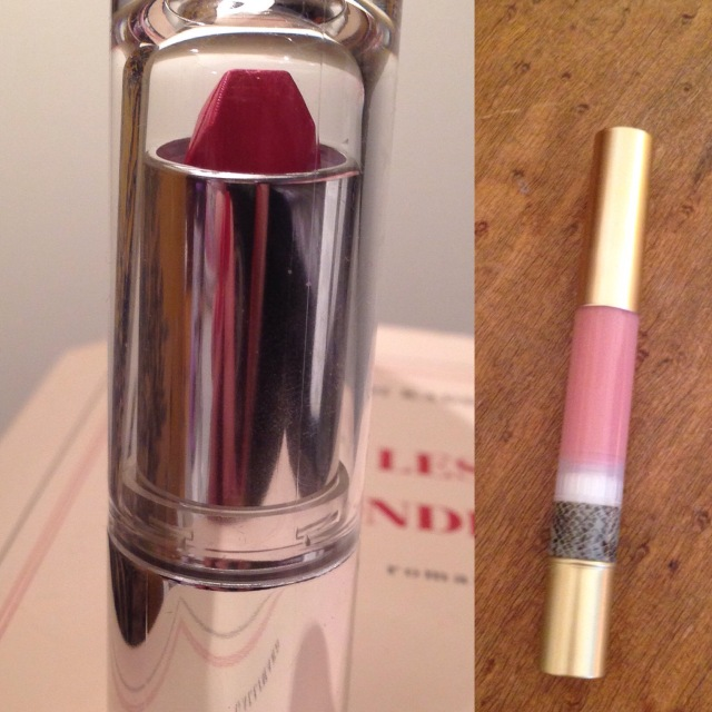 Lipstick on left. Gloss on right.
