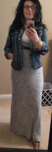 Loft Lou & Gray maxi denim jacket belt and rondini sandals