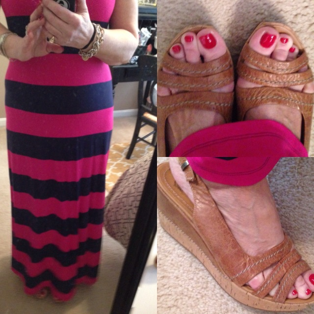 Old Navy berry and blue sleeveless maxi and wedges