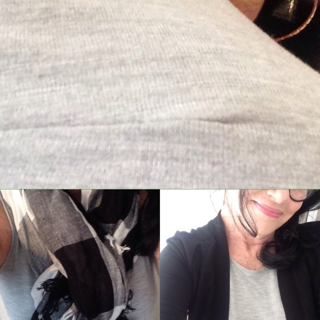 Old Navy gray maxi darts scarf and cropped sweater detail