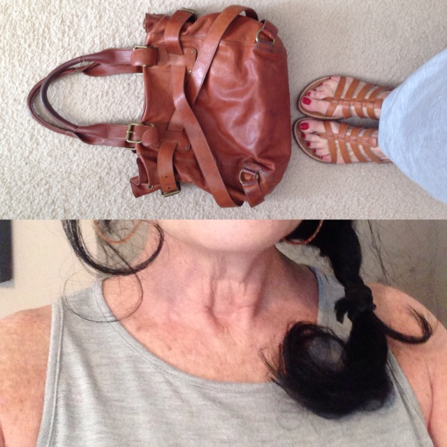 Old Navy gray sleeveless maxi neckline detail and sloan bag and tropeziennes