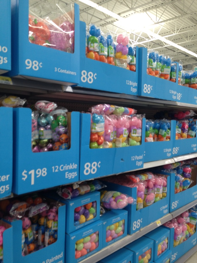 Walmart stacks of plastic eggs