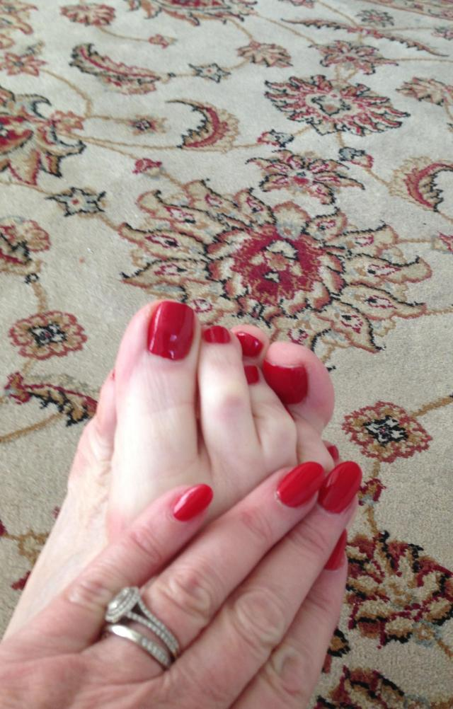 My mani pedi. I love red so much
