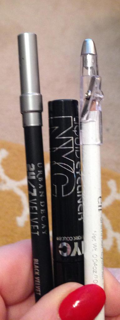 Urban Decay 247 liner pencil NYColor liquid liner and ELf White pencil