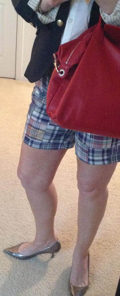 madras shorts heels bag
