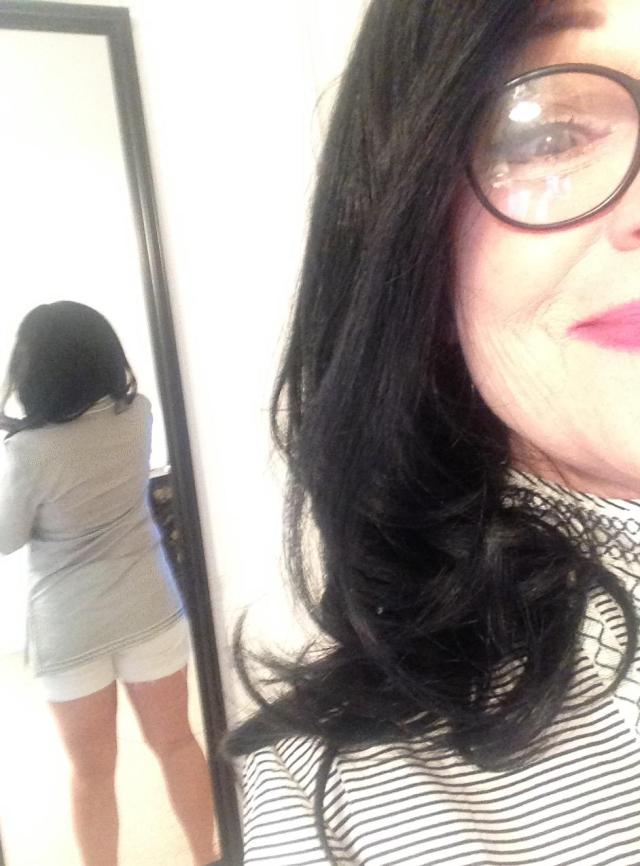 My fat ass back view of white shorts tory burch tunic