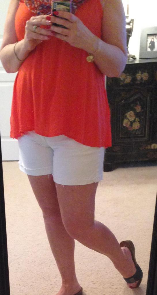 White Shorts orange trapeze scarf