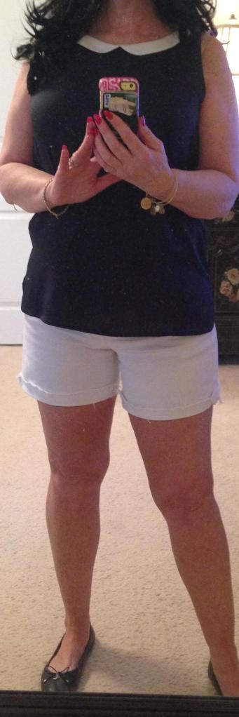 White shorts, Peter pan collar Shirt, Sam edelman full view