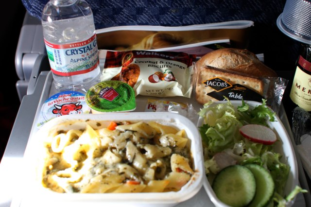 American Airlines in flight pasta meal