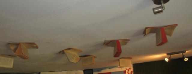Cabris. Atelier Galerie Lulu. Books on the ceiling
