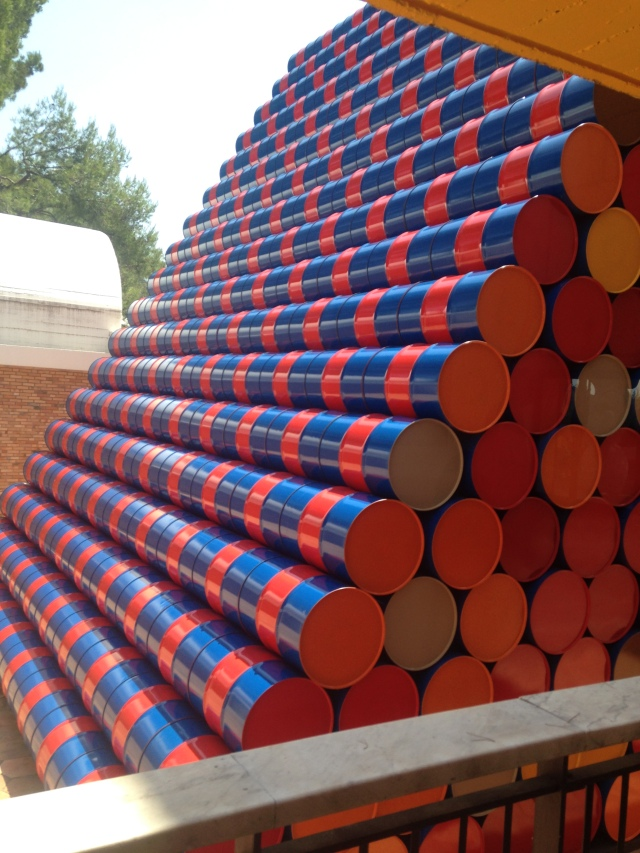 Fondation Maeght. Christo and Jeanne Claude barrels.