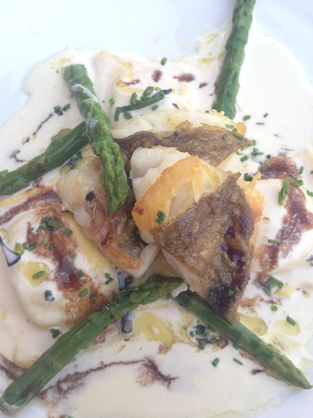 Food. Gaston. My dinner. St. Pierre (John Dory) Ravioli. Asparagus. Truffle sauce.