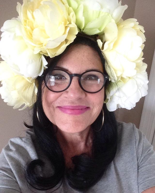Me in floral hat from Elizabeth!