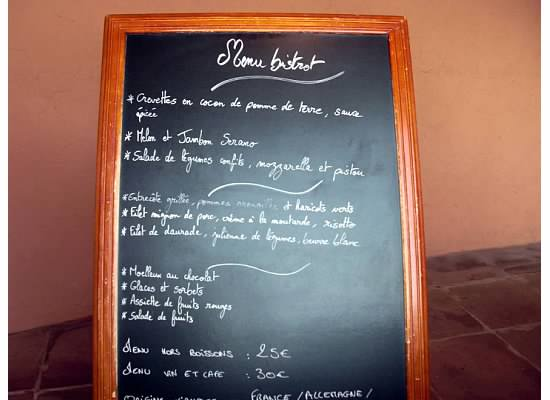menu at club