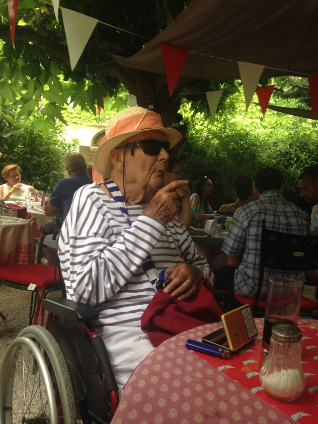 St. Tropez. La Ramade. Dany. 95 and puffing on a cigar.