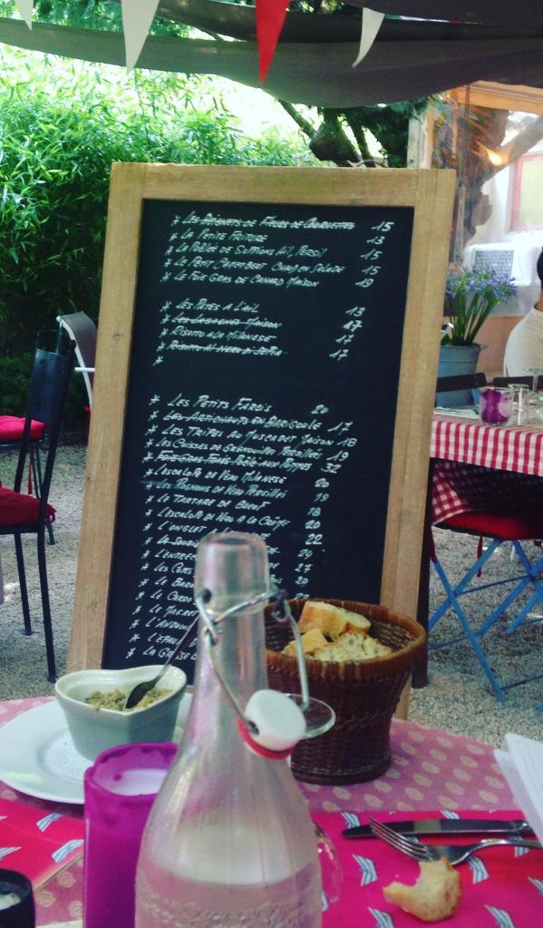 St. Tropez. La Ramade. Menu