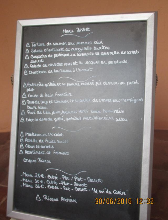 Theoule. Club la galere. Dinner menu