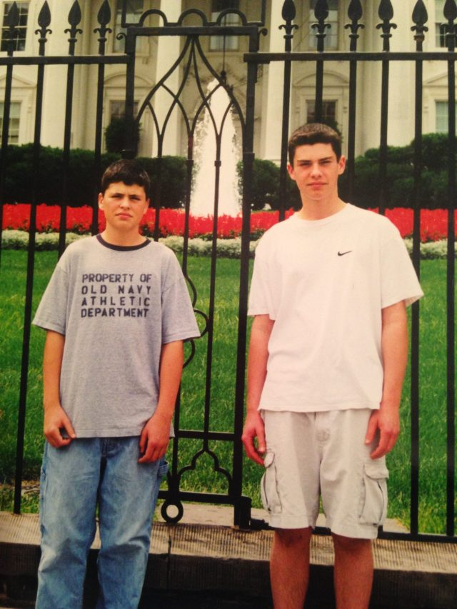 Jake and roman in front of the white house
