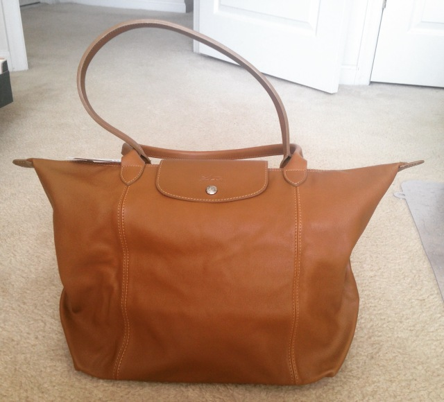 Long champ leather bag caramel