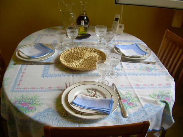 Paris. Daniele's apt. dinner table set.