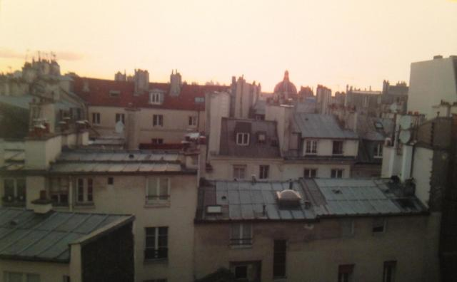 View from one of the windows in the aparatment dusk