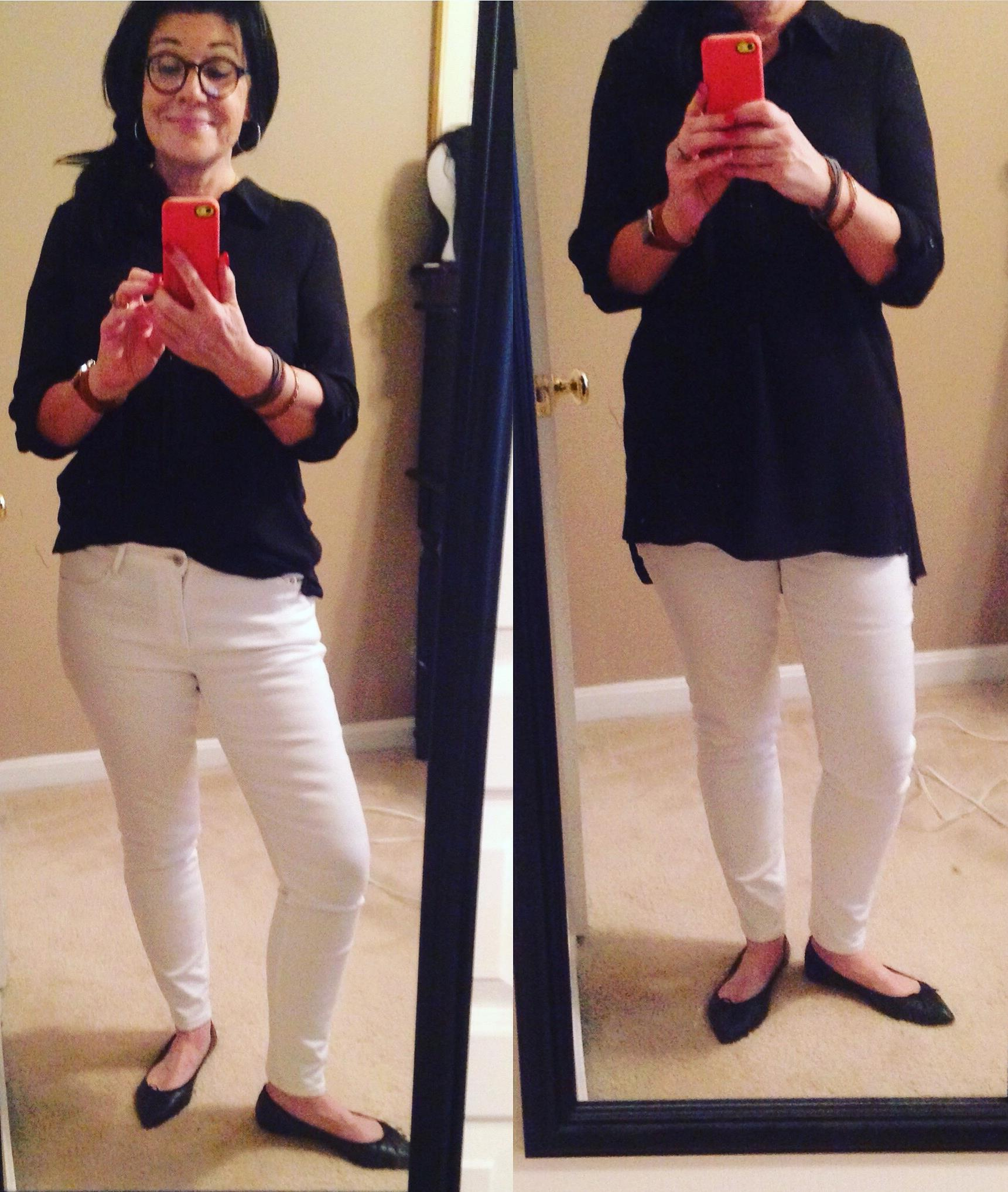 fb1c222c84f tuesday-outfit-white-jeans-black-tunic-top | Atypical 60