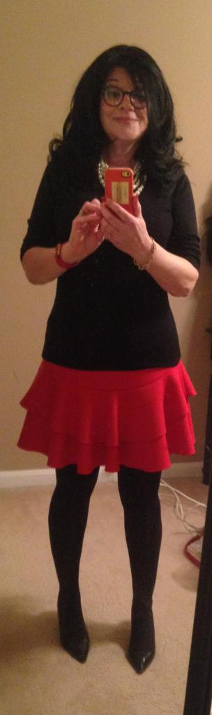 red-skirt-black-sweater-black-tights-fake-hair