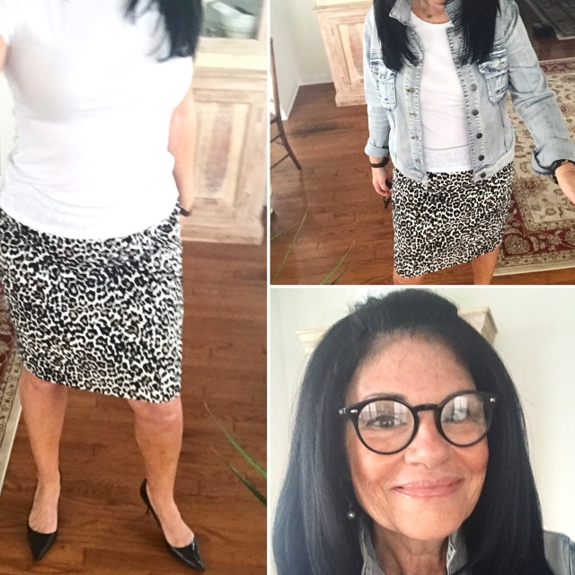 Image result for atypical60 denim jacket with leopard skirt